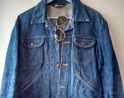 ג'קט ג'ינס WRANGLER רנגלר לגבר/אישה סבנטיז | ג'קט ג'ינס כחול רנגלר וינטג' מקורי מידה L