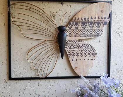 תמונת פרפר משולב עץ וברזל