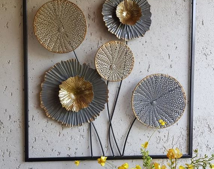 תמונת ברזל פרחים שלושה גוונים