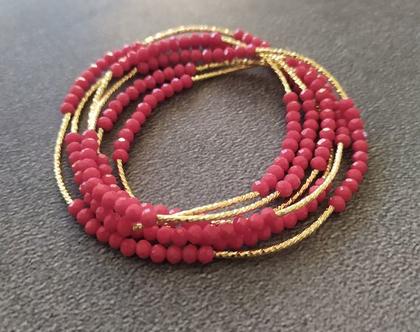 צמיד שרשרת קריסטלים אדום צינורות