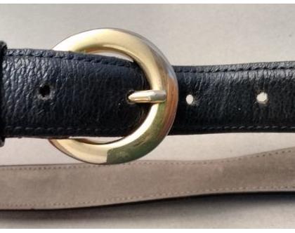 חגורת מותן עור כחולה אבזם זהב | חגורת עור מצרפת וינטג' אייטיז לאישה