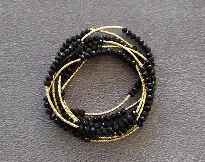צמיד שרשרת קריסטלים שחור צינורות