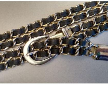 חגורת שרשרת בצבע כסף יוניסקס | חגורת חוליות כסף וינטג' מקורית אייטיז