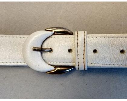 חגורה עור לבנה לאישה | חגורה דקה עור וינטג' מקורית אייטיז