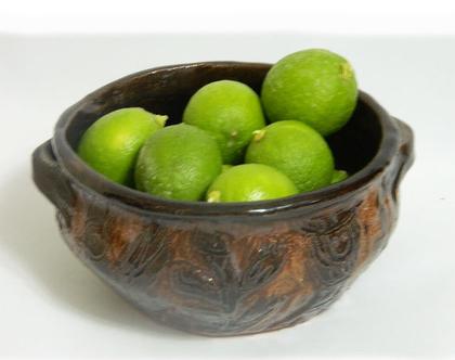 קערת קרמיקה בעבודת יד   קערת פירות   קערה מיוחדת   קרמיקה עבודת יד  