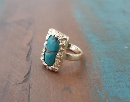 טבעת זהב 18K עם אבן טורכיז, אבן ההולדת של חודש דצמבר
