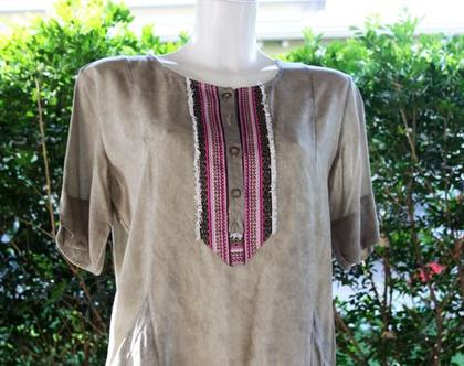 שמלה חומה עם דוגמה של חגית טסה / שמלה לנשים / שמלה מיוחדת