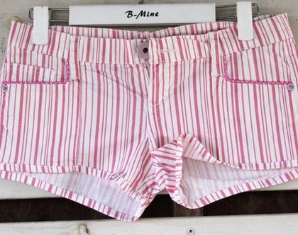 מכנס קצר פסים מדליק / מכנס פסים ורוד