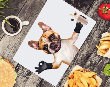 פלייסמטים מויניל - כלב שייק איט (אפור בהיר)