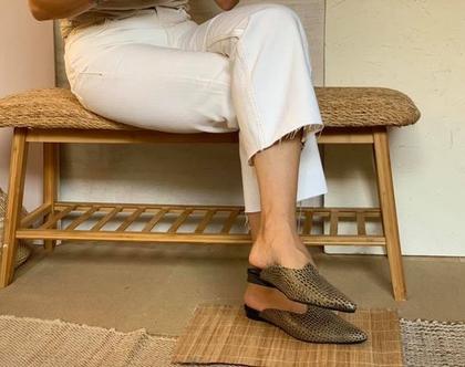 נעלי עור מעוצבות, נעליים שטוחות מיוחדות, נעלי כפכף מעור, נעליים אופנתיות