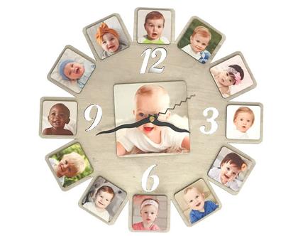 שעון עץ| תמונה משפחתית| שעון עם תמונה| מתנה אישית| הדפסה על עץ| מתנה לבית|