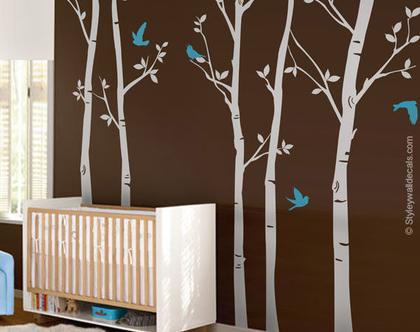 מדבקות קיר עצים | מדבקות קיר עצי יער | מדבקות קיר לעיצוב החדר ילדים | עצי ליבנה וחיות יער