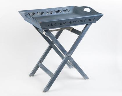 מגש על רגלים, שולחן הגשה כחול מתקפל מעץ