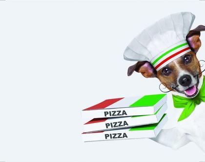 פלייסמטים מויניל - מישהו הזמין פיצה? (אפור בהיר)