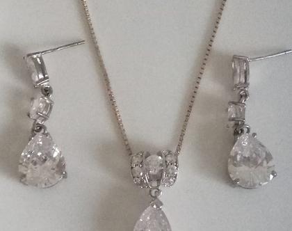 סט עגילים ושרשרת - סט תכשיטים לכלה - תכשיטים לאירוע