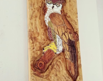 ינשוף מגולף וחרוט בעץ במלא בעבודת יד