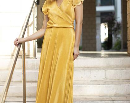 שמלת ערב צהובה , שמלת מעטפת פליסה