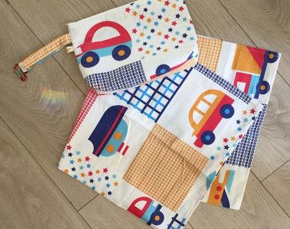 שמיכת פיקה צבעונית לתינוק , שמיכה לעגלה , שמיכת קיץ לתינוק , מארז ליולדת