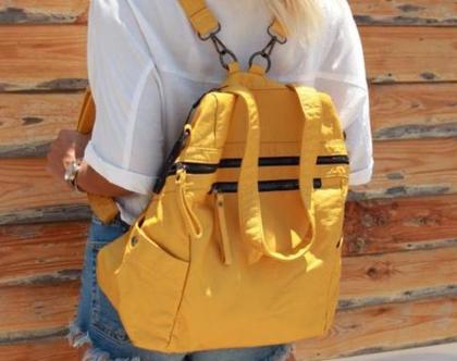 תיק גב אופנתי גדול בצבע צהוב - Jenice