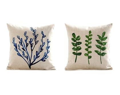 סט כריות נוי - צמחים בצבעי מים