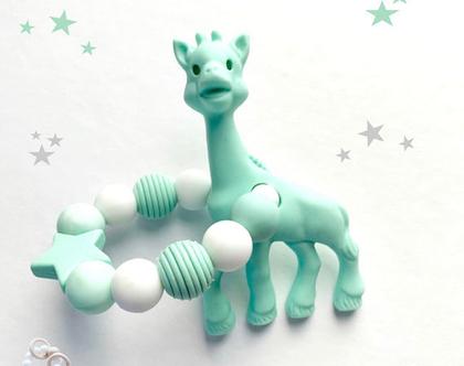 נשכן סיליקון לתינוקות / נשכנים סיליקון דגם ג'ירפה / נשכנים לשיניים / מתנות לתינוקות / מתנה לתינוק / giraffe teething ring