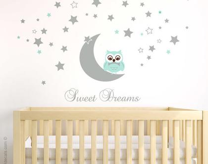 מדבקות קיר ינשוף | מדבקת קיר לילה טוב | דבקות קיר לחדרי כוכבים |מדבקת קיר ירח | Sweet Dreams