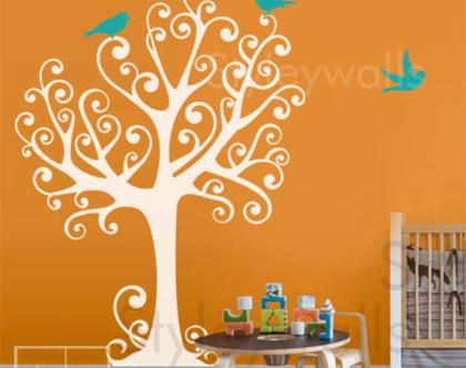 מדבקת קיר עץ מסולסל עם ציפורים | מדבקות קיר לחדרי ילדים | מדבקות קיר לעיצוב החדר ילדים | מדבקות קיר ציפורים | מדבקות קיר עץ