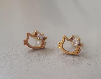 עגילים צמודים הלו קיטי קטנים חלולים עם שיבוץ אבן בגולדפילד - משלוח חינם