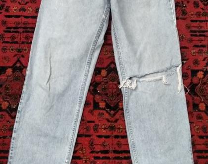 מכנס ג'ינס THE GAP משופשף | ג'ינס גאפ בהיר משופשף עם קרעים מידה 40