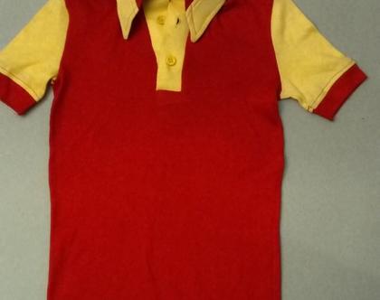 חולצת טריקו סבנטיז אדום וצהוב לילד
