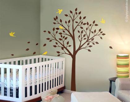 מדבקת קיר עץ וציפורים | מדבקות קיר ציפורים | מדבקות קיר לחדרי ילדים