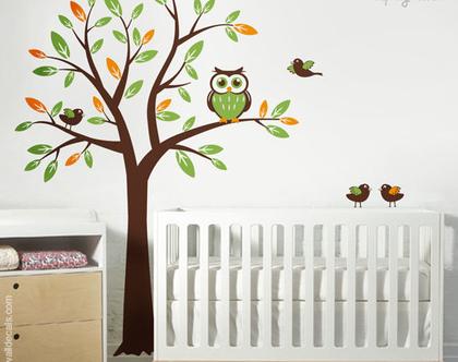מדבקת קיר עץ ציפורים וינשופים | מדבקות קיר ציפורים | מדבקות קיר לחדרי ילדים | מדבקת קיר ינשוף