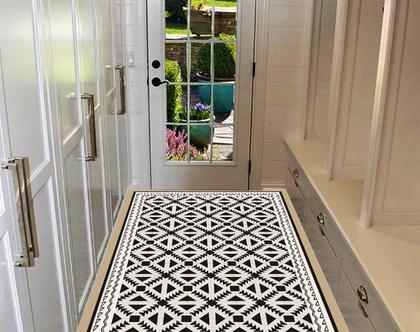 שטיח פי.וי.סי - Geometric pattern | עיצוב נורדי | שטיחי PVC| שטיחים מעוצבים| שטיח למטבח| שטיחים לבית|שטיח שחור לבן