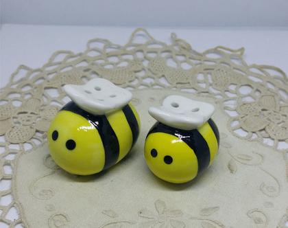 מלחיות קרמיקה בצורת דבורים   מלחיה ופלפליה   סט מלח פלפל   אספנות   לאספנים   מלחיות מיוחדות  