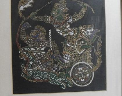 ציור וינטג' הדפס תאילנדי על בד ממוסגר אמנות סינית יפנית המזרח הרחוק לוחמים על מרכבה