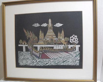ציור וינטג' הדפס תאילנדי על בד ממוסגר אמנות סינית יפנית המזרח הרחוק לוחמים על סירה גונדולה