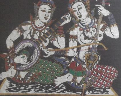 ציור וינטג' הדפס תאילנדי על בד ממוסגר אמנות סינית יפנית המזרח הרחוק מוזיקאיות תאילנדיות ערום