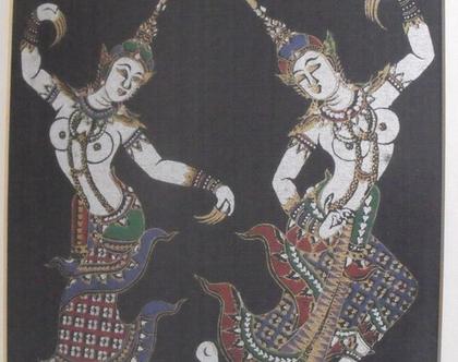 ציור וינטג' הדפס תאילנדי על בד ממוסגר אמנות סינית יפנית המזרח הרחוק רקדניות תאילנדיות ערום