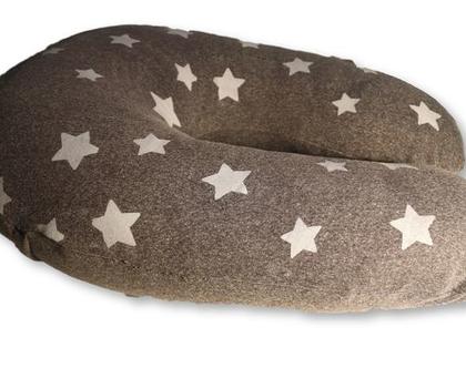 כרית הנקה גדולה אפורה עם כוכבים לבנים, מבית הני דויטש, תוצרת ישראל