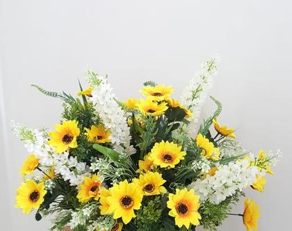 זר פרחים חמניות מלאכותי