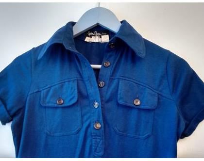 חולצת פולו סבנטיז של ניבה וינטג' מקורית | חולצת פולו כחולה שני כיסים מידה S