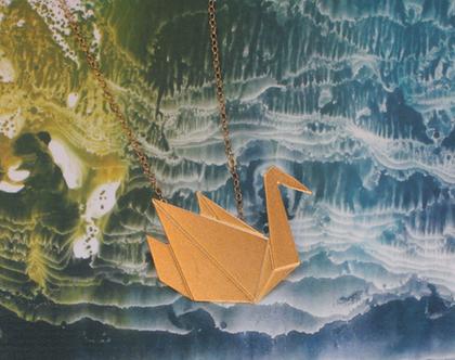 שרשרת ברבור אוריגמי זהב, קיפולי נייר, שרשרת של חיה, חיית מים, הברווזון המכוער, מתנה לאישה, שרשרת זהב לאישה