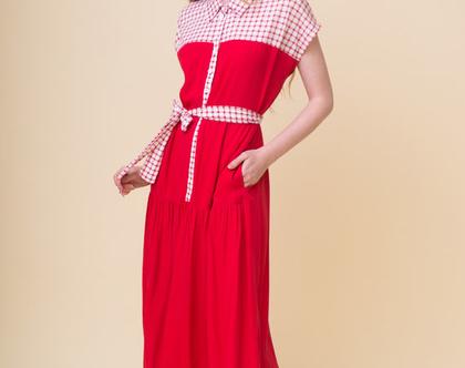 שמלה פיקניק | אדומה