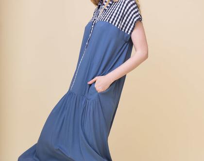 שמלה פיקניק | כחולה