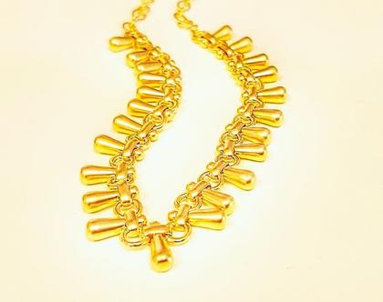 שרשרת בסגנון וינטאג' זהב. תכשיט וינטאג'. שרשרת מעוצבת מתנה. מתנה תכשיט מעוצב. תכשיט לאשה מתנה. מתנה עד 200 שח לאשה. שרשרת קולר