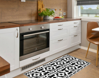שטיח pvc | שטיח פי.וי.סי | שטיח למטבח | שטיח pvc שחור לבן | שטיח פי וי סי (1052)