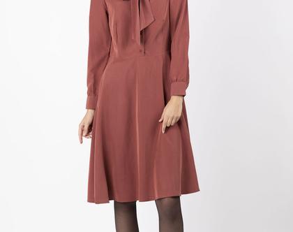 שמלת פפיון חמרה , שמלה מכופתרת חמרה , שמלה עם שרוולים ארוכים
