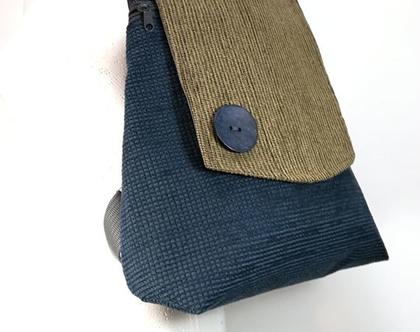 תיק גב כחול מבדים, תיק גב צבעוני, תיק גב בעבודת יד, תיק גב קל משקל, תיק גב לטיולים ולעבודה, תרמיל כחול בז בדי ריפוד חדש