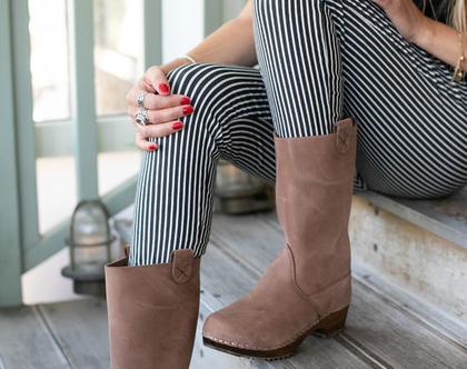 מגפיים - כפכפי עץ - קבקבי עץ לנשים - קבקבים שוודים מגפיים עור חומים