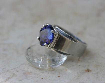 טבעת כסף - טבעת כסף עם אבן כחולה - משלוח חחינם